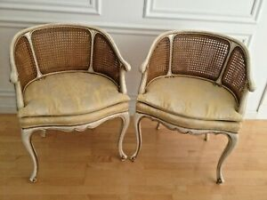 Karges Pair Of Double Cane Barrel Back Arm Chairs