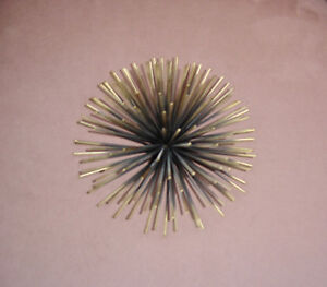 Metal Sculpture Art Sun Burst Or Sea Urchin For Table Top Or Wall Retro Glam