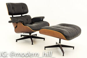 Vtg Eames For Herman Miller Mid Century Modern Lounge Chair Cherry W Ottoman