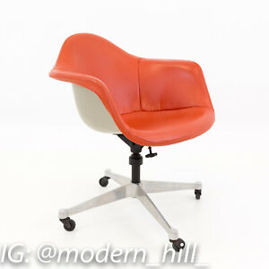 Vtg Mcm Early Charles Eames For Herman Miller Shell Desk Chair Orange