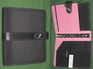 Desk 1 0 Pink Ribbon Nylon Day Timer Planner Binder Classic Franklin Covey