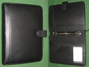 Classic 1 0 Black Top Grain Leather Samsonite Planner Binder Franklin Covey