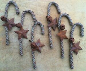6 Bendable Fabric Rusty Wire Candy Cane Christmas Ornaments Star Bell Farmhouse