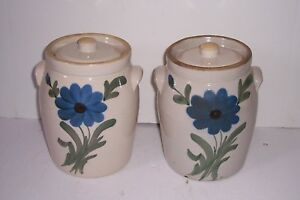 Pair Antique Decorated Stoneware Pottery Crocks Multi Color Flower Unusual