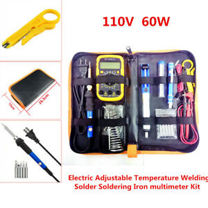 110v 60w Adjustable Electric Temperature Gun Welding Soldering Iron Tool Kit Set