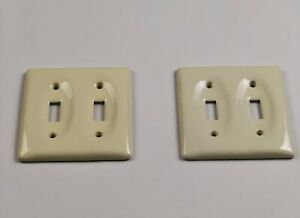 Vintage Two Porcelain Light Double Switch Cover