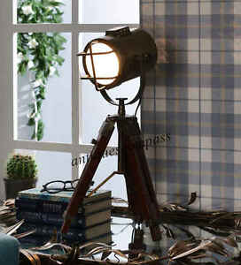 Antique Finish Mini Small Desk Table Lamp Searchlight Vintage Spot Light Tripod