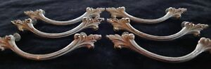 Six Vintage French Provincial Handles Drawer Pulls In White Ivory Wash W Screws
