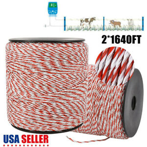 Electric Horse Fence Poly Rope White Red Stainless Steel Wire 3280ft Us