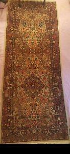 Antique 1930s Authentic Persian Kirman Fine Handknotted Floral Signed Runner Rug