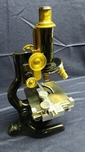 Antique Bausch Lomb Patent 1915 Monocular Microscope With Extra Lens