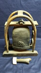 Vintage Elephant Bell With Stand Thailand Gong Eye Catching Home Decor