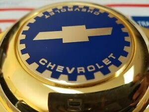 Chevy Zenith Dayton Wire Wheel 2 25 Metal Chip Emblems Gold blue