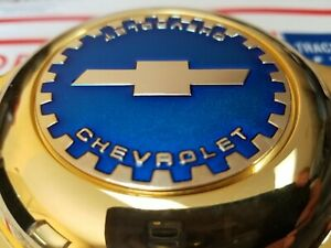 Chevy Zenith Dayton Wire Wheel 2 25 Metal Chip Emblems Gold candy Blue