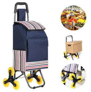 Folding Shopping Cart Portable Laundry Stair Climbing Grocery Utility Wheels