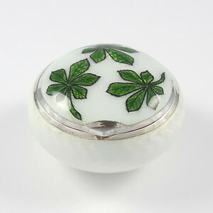 Antique Victorian Sterling Silver Guilloche Enamel Pill Box 1898