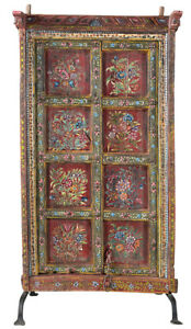 Stunning Carved Hand Painted Antique Wood Door On Iron Stand 37 X 65 H