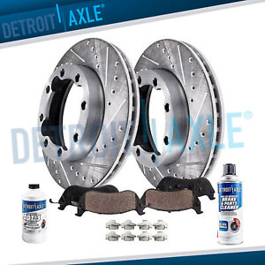 Front 1990 2000 Chevy Gmc K3500 Drilled Slotted Rotors Ceramic Brake Pads