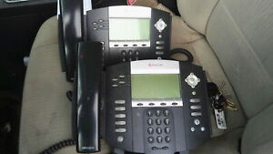 2x Polycom Soundpoint Ip 550 Sip Voip Business Phone W Stand Handset Lot Of 2
