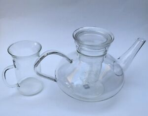 Schott Mainz Jena Glass Tea Pot W Lid Infuser Cup Design By Wilhelm Wagenfeld