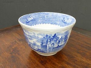 Vintage Blue White Hand Painted Porcelain China Bowl 1800 S