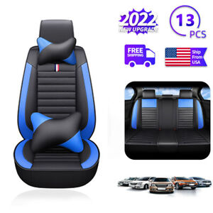 5d Car Sit Cover 5 seats Pu Leather Front Rear Set Universal Cars Accessories Us