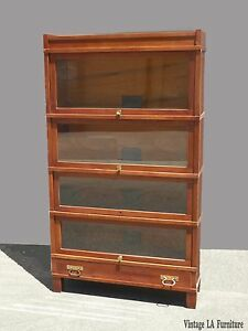 Antique Globe Wernicke Co Art Mission Lawyers Stackable Cherry Bookcase