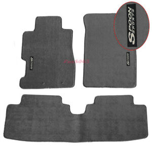 Fits 01 05 Civic Floor Mats Front Rear Nylon Grey 3pc W Spoon Embrodery