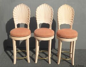 Set Of Three Off White Venetian Grotto Shell Back Swivel Bar Stools French Count