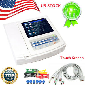 Contec digital 12 Channel 12 Lead Ecg Ekg Touch Screen Pc Sw printer Ecg1200g