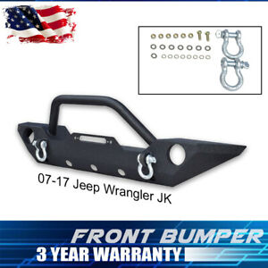 Black Front Bumper Fits 07 18 Jeep Wrangler Jk unlimited With Fog Lamps Hole