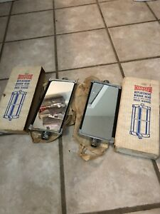 2 Vtg Nos Yankee Tube Thru Jr West Coast Truck Van Mirror Heads 5 X 10