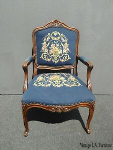 Vintage French Provincial Blue Tapestry Needlepoint Accent Chair