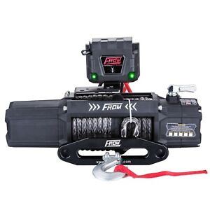 From Ant 12v 12500lbs Electric Winch With Synthetic Rope For Jeep Atv Utv Truck