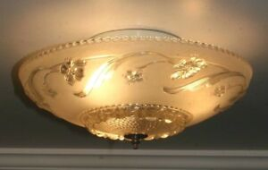 Antique Cream Glass 14 Art Deco Flush Mount Ceiling Light Fixture Porcelier