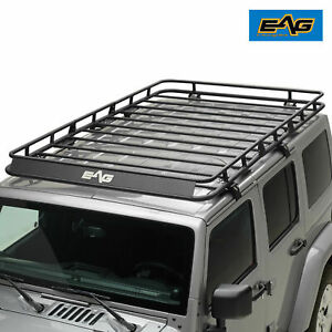 Eag 07 18 Jeep Wrangler Jk 4 Door Roof Rack Cargo Basket Full Width