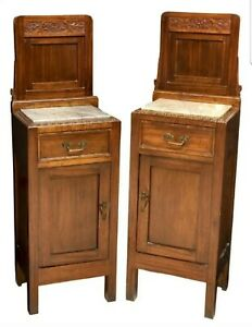 Italian Art Nouveau Carved Wood Marble Bedside Cabinet Pair Antique Nightstand