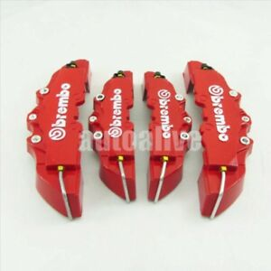 4pcs Front Rear 3d Style Disc Brake Caliper Covers Universal Red