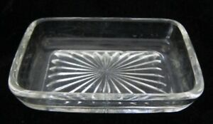 3 75 X 2 5 Starburst Clear Glass Liner For Silverplate Or Other Butter Dish