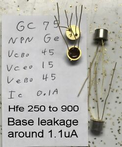 Over 950 Texas Instruments Gc75 Npn Germanium Transistor Gold Plated