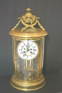 Antique 19thc French Crystal Regulator Bronze Brass Mantel Clock Working Cond