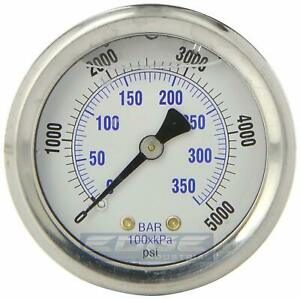Liquid Filled Pressure Gauge 0 5000 Psi 2 Face 1 4 Back Mount