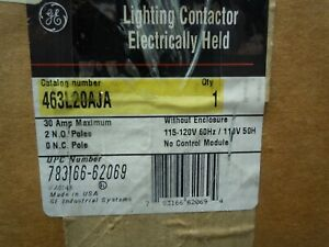 120vac Electrically Held Lighting Contactor 2p 30a Ge Cr463l20aja New