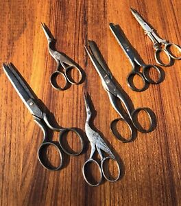 Estate Lot Of 6 Antique Sewing Embroidery Scissors Fancy Stork Germany Case