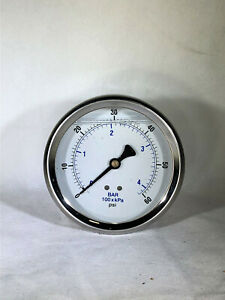 Liquid Filled Pressure Gauge 0 60 Psi 4 Face 1 4 Back Mount
