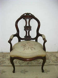 Vintage French Louis Accent Arm Chair Tapestry Upholstery Ornate Carved