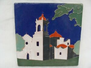 Antique San Jose Mission Pottery Tile 8x8 Mexican Arts Crafts Signed On Back
