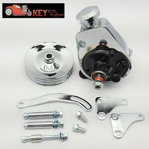Sb Chevy Chrome Saginaw Power Steering Pump Bracket 2 Groove Pulley Kit Sbc 350