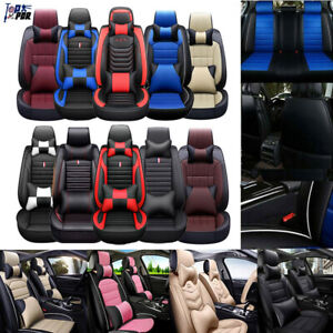 Universal Pu Leather Car Sit Covers Car Accessories Front Rear Cushion 5 Seat Us