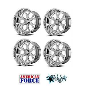 4 22x12 American Force Polished Ss8 Shield Wheels For Chevy Gmc Ford Dodge